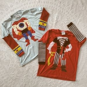2 Novelty Morfs Character Pirate Superhero 👕